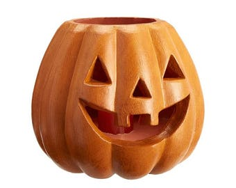 Halloween Jack O'Lantern Luminary Large Orange Wax Pumpkin Lantern