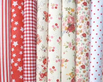 10 coupons fabric Quilt/sewing 45 x 45 cm 3007 red tones
