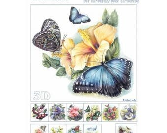 Paper sheets 3D decoupage, collage, cardmaking BUTTERFLIES on flowers 666