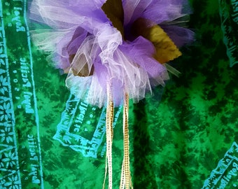 Set of 3, Tea Party Tulle Pom Poms with Silk Leaves and Ribbon