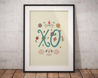 XO print, XO, wall print, hugs and kisses, lettering, typography, nursery decor, cheerful, floral, flowers, love, printable wall art prints
