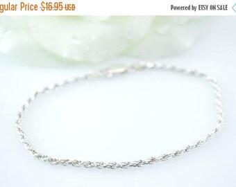 HUGE Sale Delicate Rope Chain Bracelet Sterling Silver 3.9g