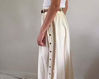 Vintage 80s natural cotton long skirt with side snaps / ankle length unbleached maxi skirt 29 W