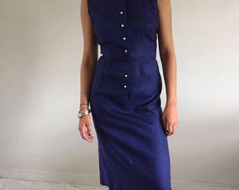Vintage 1950s Navy Blue Linen Sleeveless Wiggle Dress | xs-s 2/4