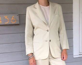 Vintage 90s Sand Minimal 2 Piece Linen Suit   M size 4/6