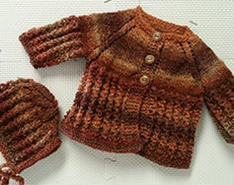Baby Sweater Set - Copper and Brown Sweater and Hat