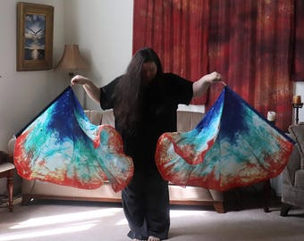 Prophetic - Silk Flag - Worship Flag - Praise Dance - Dyed Silk - Prophetically Hand-Dyed Regular Spin Wings called Be My Hands