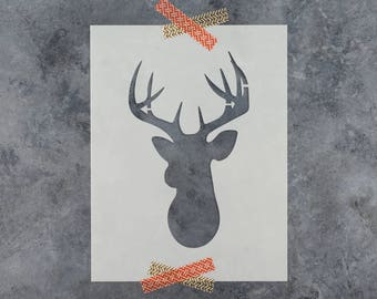 Buck Stencil - Reusable DIY Craft Stencils of a Buck Deer Head