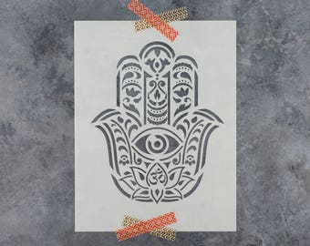 Hamsa Palm Mandala Stencil - Reusable DIY Craft Stencils of a Hamsa Palm Mandala