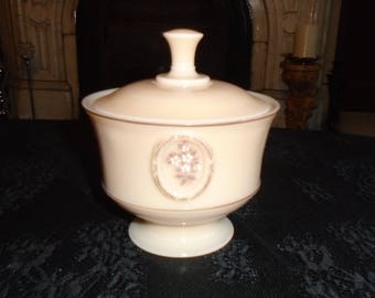 Peach Milkglass  Westmoreland candy dish with lid, white flowers