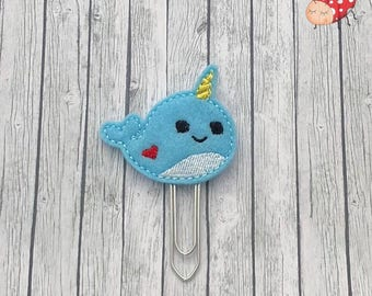 Narwhal planner clip, paperclip, office supplies, planner accessory, organiser accessories, embroidered, study, felt, paperwork,
