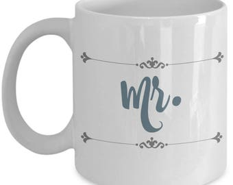Mr and Mrs Mugs | Farmhouse Decor Mug | Farmhouse Style Coffee Mugs | Engaged | Wedding Gifts for Groom To Be | 11oz Tea Cup | Engagement