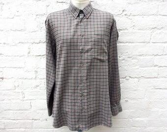 Men's grey checked shirt, oversized grunge top, 90's fashion
