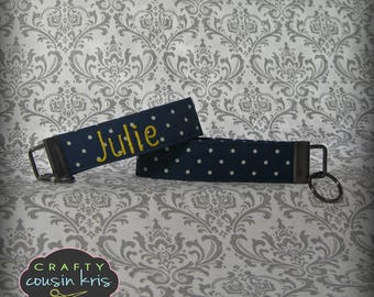 Key Fob Wristlet in Blue Polka Dot