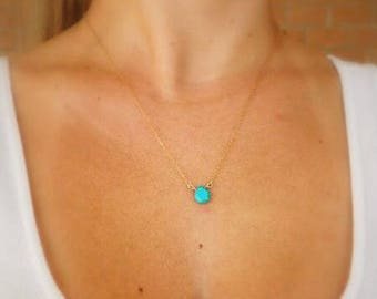 Pearl Necklace / Turquoise Blue - real stone / 18 K gold plated / / 60% off _ for everyday