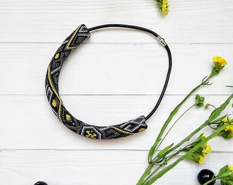 Beaded Crocheted Necklace with leather lace Gray necklace Boho