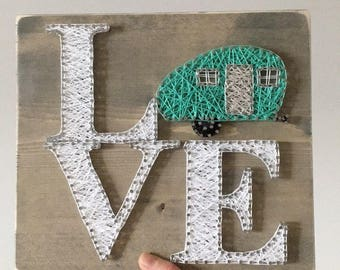 Boler Art, Camping Wall Decor, Camping Gift, Travel Gift, Boler Wall Decor, Boler String Art, Camping String Art, Rustic Decor, Travel Gift