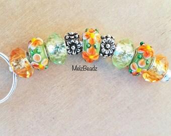 Pretty keychain-orange bead keychains-large bead keychain-orange floral keychain-glass bead keychain-flower keychain-lampwork bead keychain