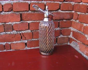 Vintage Soda Siphon Glass Seltzer Bottle with Mesh Cover Old Sparklets Soda Bottle Siphon Seltzer Glass Siphon Collector bottle