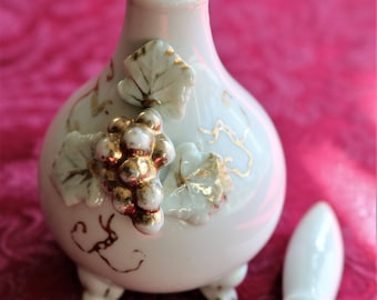 White Ceramic Perfume Bottle with Raised Gold Grapes and Leaves