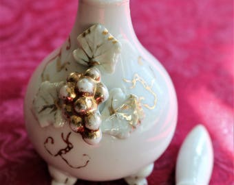 Vintage Perfume Bottle, White Porcelain Perfume Bottle, Gold Accents, Vintage Bottle with Stopper, Vintage Perfume, Perfume Decanter