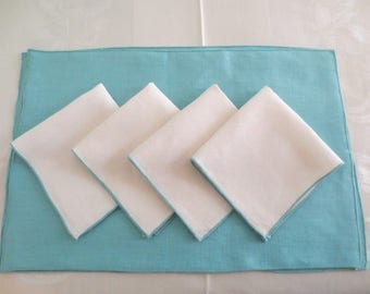 Vintage 8 Pc Linen Placemats and Napkins Set Turquoise White
