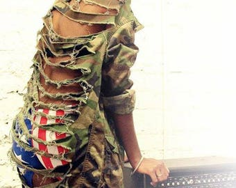 Distressed Shredded Vintage Camo Army Jacket