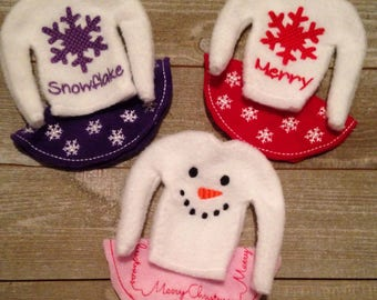 Personalized elf or 12 inch doll sweater and skirt set