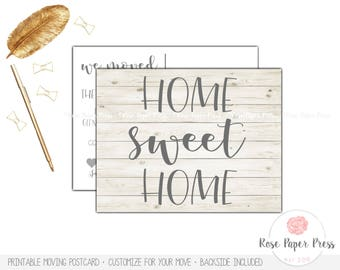 Moving Announcement   Shiplap Moving Postcard   Printed or Printable Postcard   Moving Cards   New Home Postcard   We Moved Postcard, Rustic