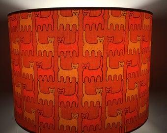Orange cat print 30cm drum lampshade, vintage 60s/70s fabric
