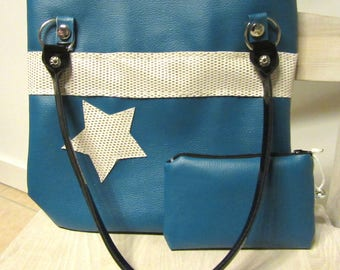 BAG has handmade faux TURQUOISE and GLITTER