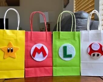 SUPER MARIO FAVOR Bags - Set of 12 Super Mario party bags, Mario and Luigi, Mario Brothers Party, Super Mario Party, Super Mario Birthday
