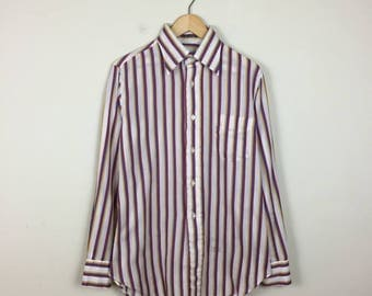 70s Primary Color Striped Button Up, 70s Button Up