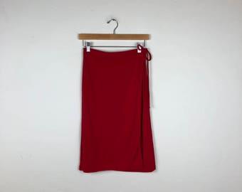 Vintage DKNY Skirt Size S, Red Wrap Skirt, Red Skirt, Red Knee Length Skirt