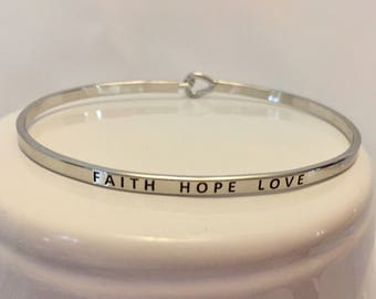 FAITH HOPE LOVE Mantra Bangle/Bracelet - in Gold and Silver