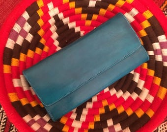 Moroccan Leather Wallet, Leather Wallet, Handmade Leather Wallet, Turquoise Leather Wallet, Simple Leather Wallet, Minimalist Leather Wallet