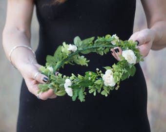 Flower crown wedding, ivory flower crown, bridal floral crown, flower girl crown, greenery crown, white rose flower crown