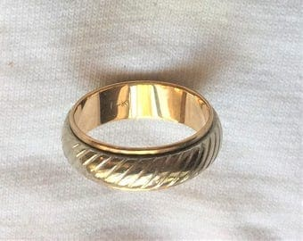 "Vintage 14k HEAVY Yellow White Gold Estate Wedding Ring Band 6.7g sz 8.75 Marked 14 kt k 14kt Man Woman Unisex 1/4"" 7mm wide Diagonal Design"