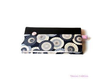 Porte Chéquier porte carte portefeuille en tissu japonais Ombrelles Bleues