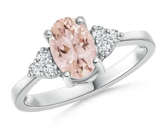 Oval peach sapphire engagement ring ,Peach sapphire  ring white gold,Solitaire peach sapphire diamond ring