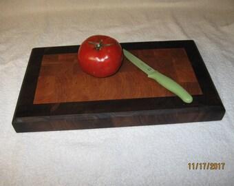 Walnut and cherry end grain cutting board