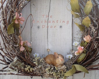 Easter Wreath, grapevine easter wreath, Spring Wreath, Bunny Wreath, primitive wreath, Rustic Wreath, Country Wreath, Spring Wreath