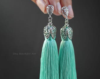 Mint Tassels Earrings with Matte Silver Plated 925 Sterling Silver Post Earrings Long Green Tassel Earrings Green ans Silver Jewelry