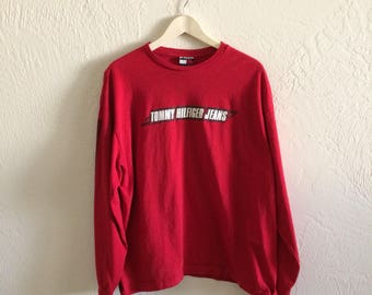 Vintage Tommy Hilfiger Jeans Spellout Longsleeve T Shirt