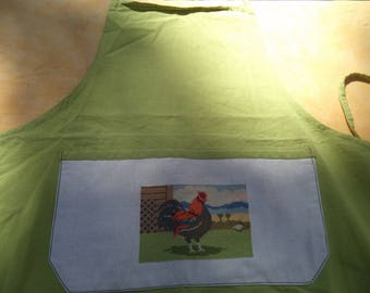 green apron lime with a rooster embroidered on the pocket of superb quality
