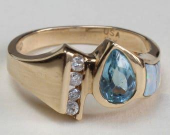Opal Inlay Inlaid Diamond Blue Topaz Ring 14k Gold Australian Channel Set