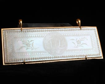 Antique Chip Gambling Chip Mahjong Mother of Pearl 14k Gold Frame Pendant