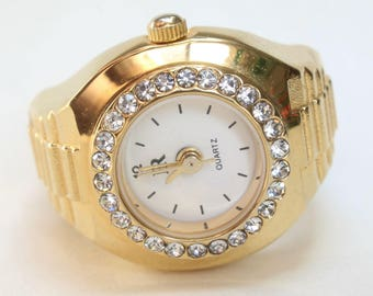 Ring Watch Finger Watch Stretchy Band Japanese Quartz Gift for Her