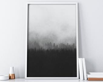 Printable Forest Art| Mountains Print| Foggy Print| Misty Print| Scandinavian Print| Extra Large Wall Art Poster| Tumblr Room Decor