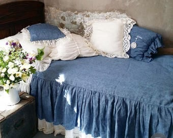 Linen long ruffle duvet cover